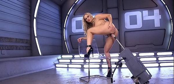 Huge tits blonde in high heels on machine