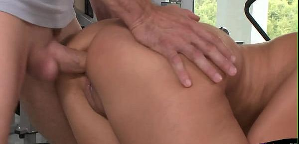 Naughty raven babe gets ass pounded