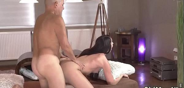 Old man double and step daddy cum inside Vacation in mountains