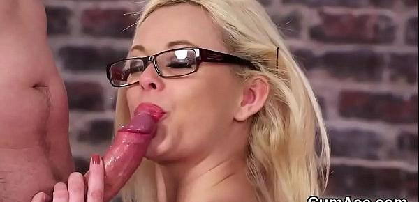 Wicked doll gets cum load on her face sucking all the jism