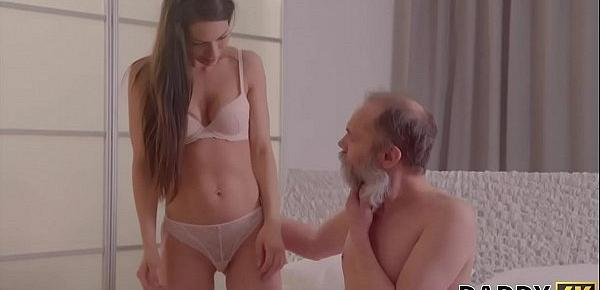 DADDY4K. Grey-haired dad seduces adorable GF of his son for hot sex