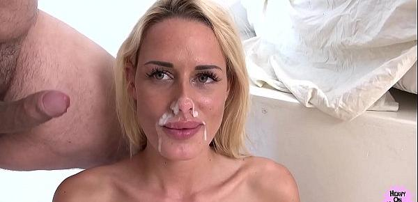 Blonde With Fake Tits Takes Messy Facial!