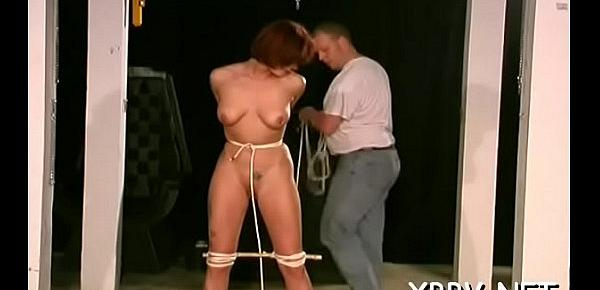 Nude milf gets the tits fastened up in amazing bondage sex scenes