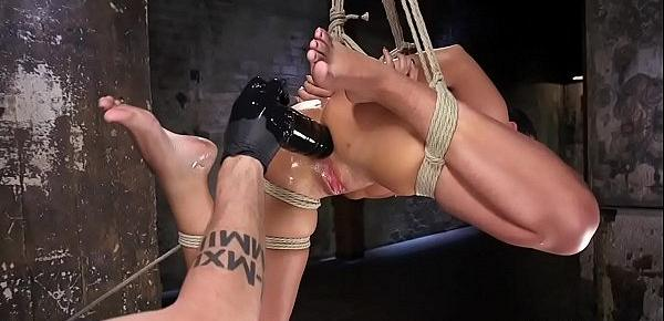 Hogtied in the air gets anal banged