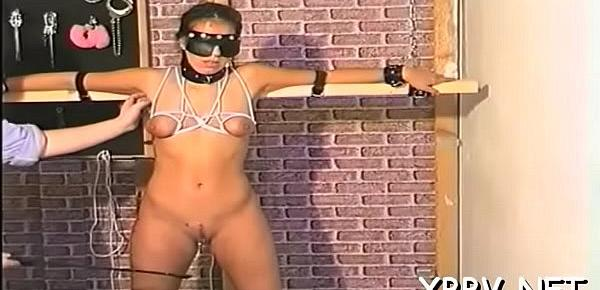 Nude woman shows off in complete breast bondage x video