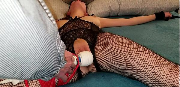 Sexy young sub gets tied up and is forced to orgasm for masterdaddy
