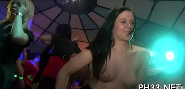 Group sex wild patty at night club schlongs and pusses each where