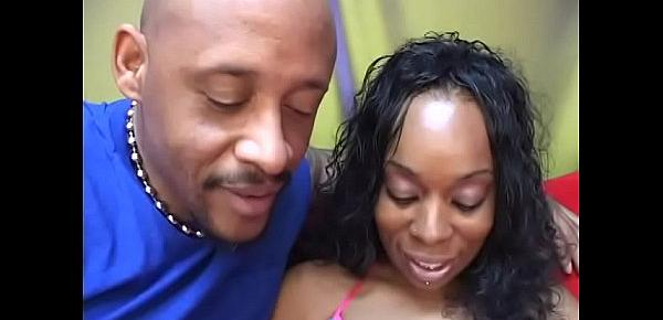 Ebony babe Rianna Sylle with big keyster finger fucks her twat and rides a black cock on couch