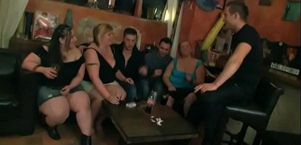 Chubby party girl get naked in the bbw bar